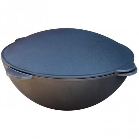 Чугунный казан 13 л. с крышкой-сковородой садж