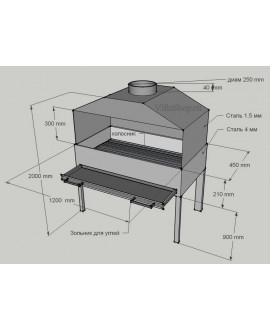 Профессиональный мангал с зольником 120х45 см